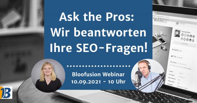 Webinar-Ankündigung: Ask the Pros – Wir beantworten Ihre SEO-Fragen!
